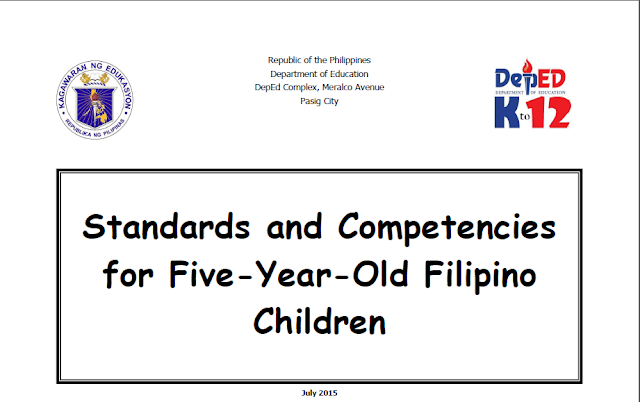 kinder cg standard competencies for 5 year old