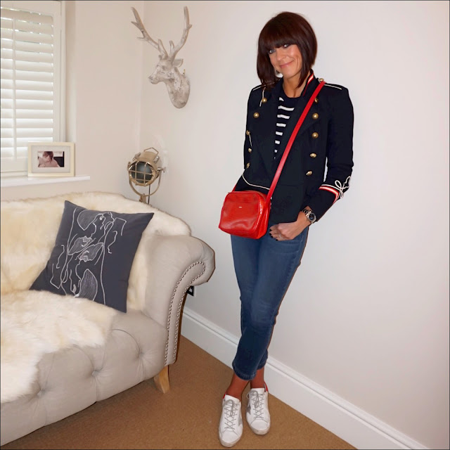 my midlife fashion, isabel marant etoile military jacket, marks and spencer cashmere stripe crew neck jumper, uterque mock croc crossbody bag, j crew billie demi boot crop jeans, golden goose superstar low top leather trainers