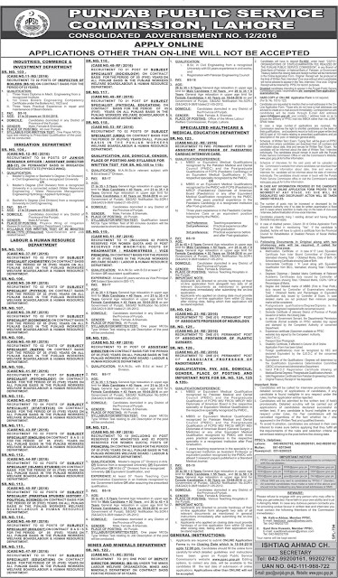 SS, Headmaster/ headmistress & Doctors Jobs in PPSC