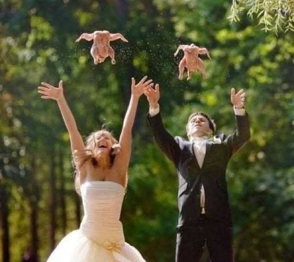 Funny Wedding Photo Involving Chickens