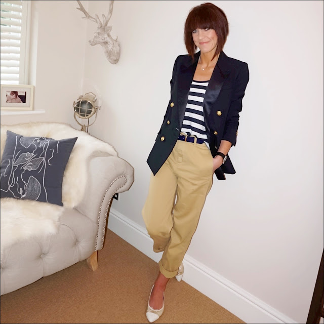 my midlife fashion, j crew navy tuxedo jacket, j crew vintage cottan stripe tank top, j crew boyfriend chinos, j crew metallic pointed two tone ballet pumps
