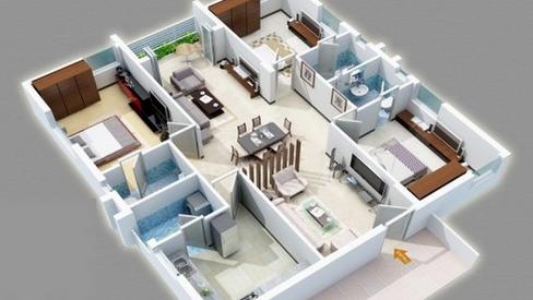denah rumah 1 lantai 4 kamar