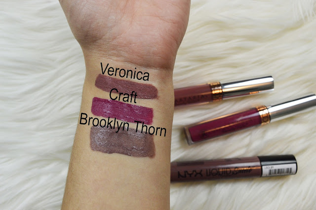 Liquid lipstick swatches of the Anastasia Beverly Hills liquid lipsticks in craft and Veronica and NYX Cosmetics Liquid Suede in Brooklyn Thorn