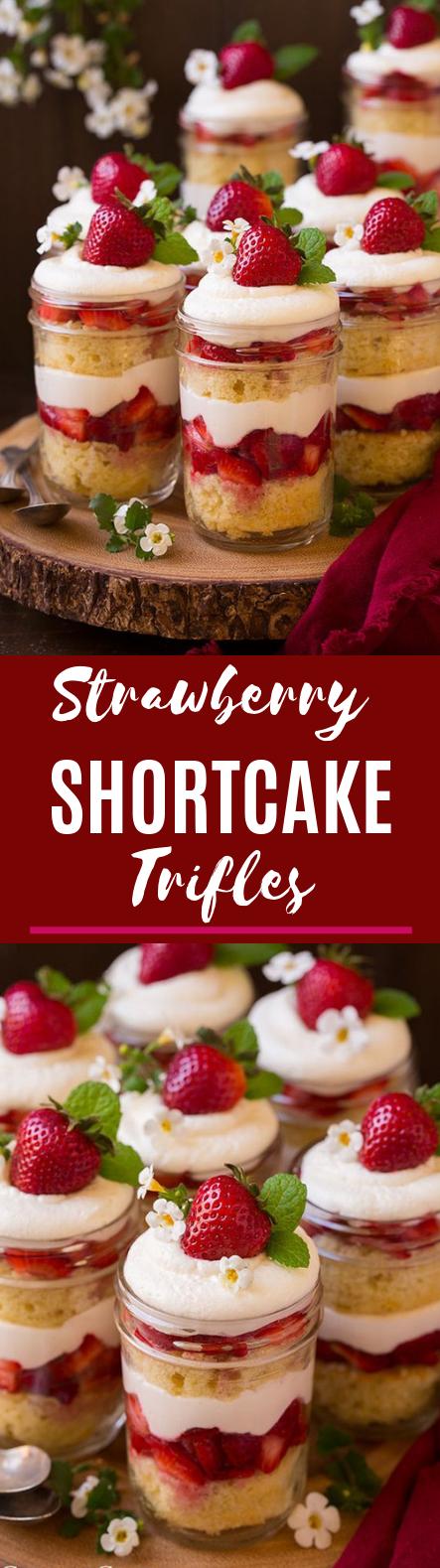 Strawberry Shortcake Trifles #dessert #summer