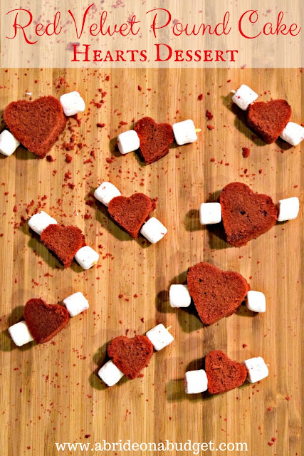 Looking for an engagement party or bridal shower dessert recipe? Try these Red Velvet Pound Cake Heart Desserts from www.abrideonabudget.com.