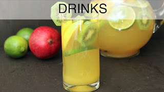 Image of glass of a virgin sangria, a recipe index link to Drinks page.