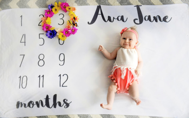 ava jane baby girl spring monthly milestone blanket pregnancy ideas 3 months old