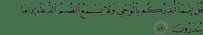 Surat Al Anbiya Ayat 45
