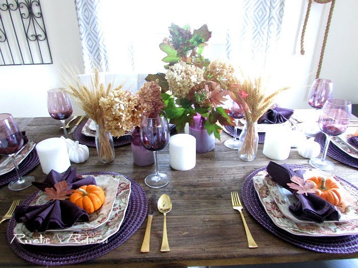 Beautiful Fall Tablescape for Fall or Autumn using a quick and easy centerpiece with square modern dishes.