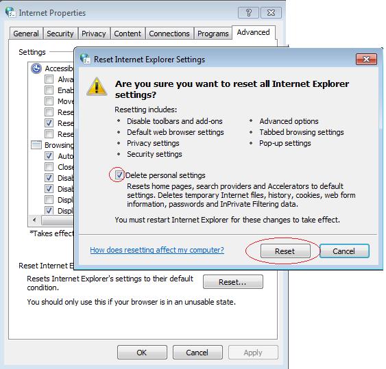 Reset Internet Explorer Settings to remove pop-ups generating adware