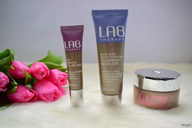 Produkty Lab Therapy od Lirene: krem pod oczy, maska do masażu twarzy, maska całonocna