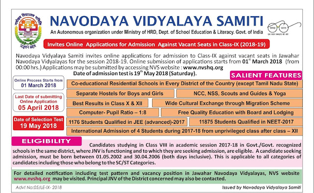 As envisaged in National Policy of Education (NEP), 1986, Govt. of India set co-educational residential institutions named Jawahar Navodaya Vidyalayas in 28 States and 07 UTs excluding Tamil Nadu. At present, 595 Vidyalayas are functional in the country. The main objective of Navodaya Vidyalayas is to provide quality modern education to the children predominantly from rural areas. Though the admission into Navodaya Vidyalayas is at Class VI , it is intended to fill vacant seats with a lateral entry test at Class IX level. Applications are invited for admission to Class IX of Jawahar Navodaya Vidyalayas of the District, against the vacant seats, which are available during the academic year 2017-18. The admission is through an All India Test to be conducted on Saturday, 24th June 2017 at 10.00 hrs. in Jawahar Navodaya Vidyalaya of the district concerned. The medium of test is English/Hindi.JNVS-jawahar-navodaya-vidyalaya-samithi-entrance-test-for-admission-to-class-9th-against-vacant-seats-2017-18/2017/05/JNVS-jawahar-navodaya-vidyalaya-samithi-entrance-test-for-admission-to-class-9th-against-vacant-seats-2017-18-notification-prospectus-application-form-halltickets-results-selected-list-download.html
