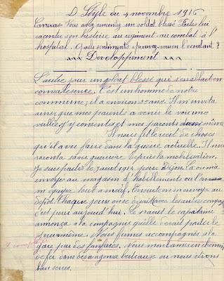 Cahier de devoirs Alpha de Tunisie, élève Eugène L., Saint-Didier-sous-Chalaronne, 1916 (collection musée)