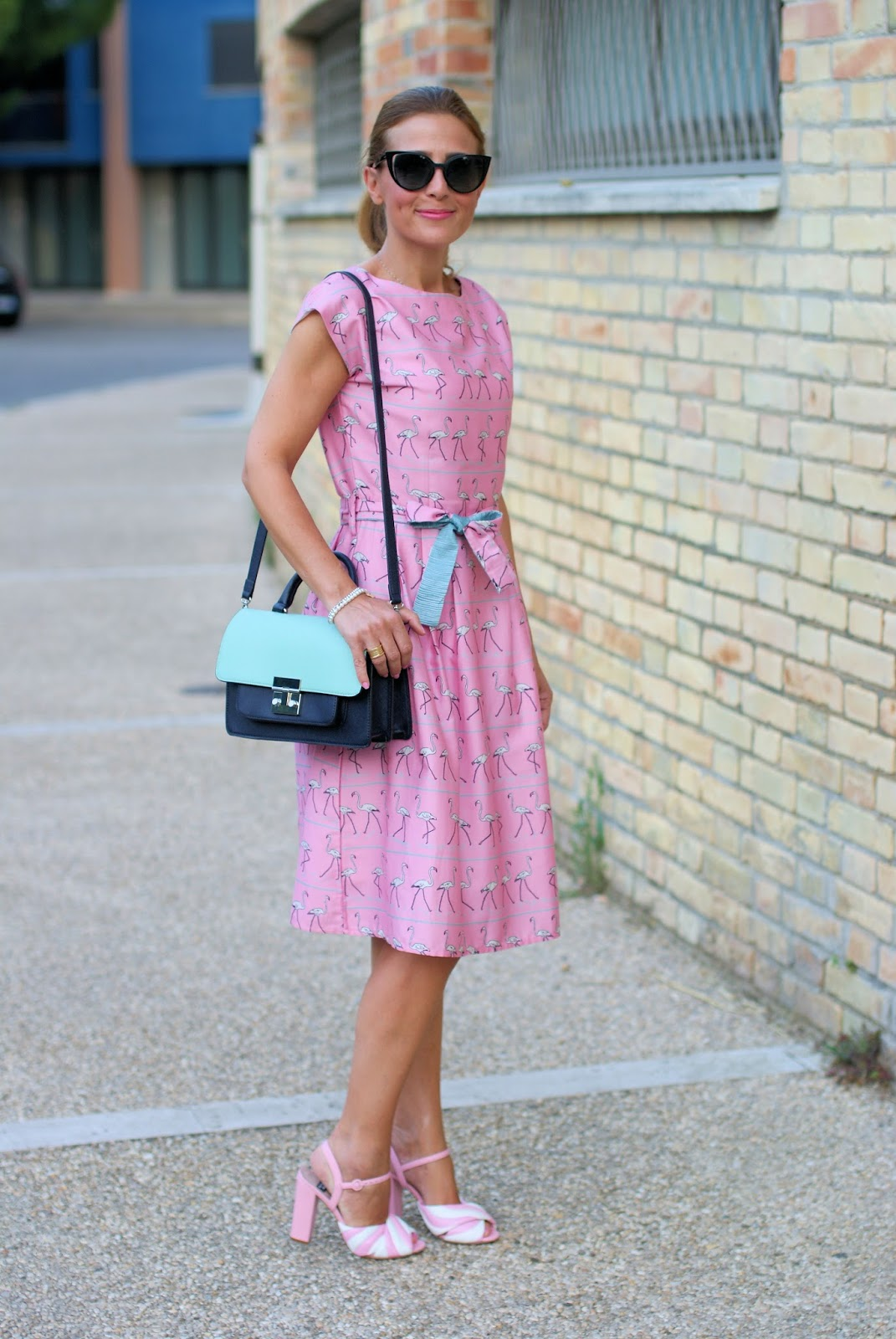 Bryony and Co flamingo dress and Moschino marshmallow candy sandals on Fashion and Cookies fashion blog, fashion blogger style
