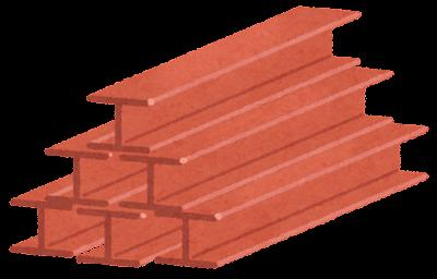 鉄骨のイラスト(赤)