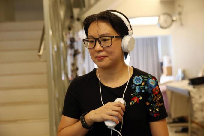 Ms Serene Lee recording her heart beating