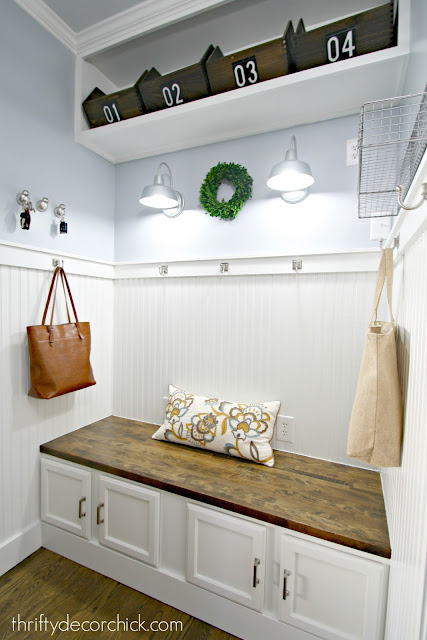 Bright and light mud room with DIY bench