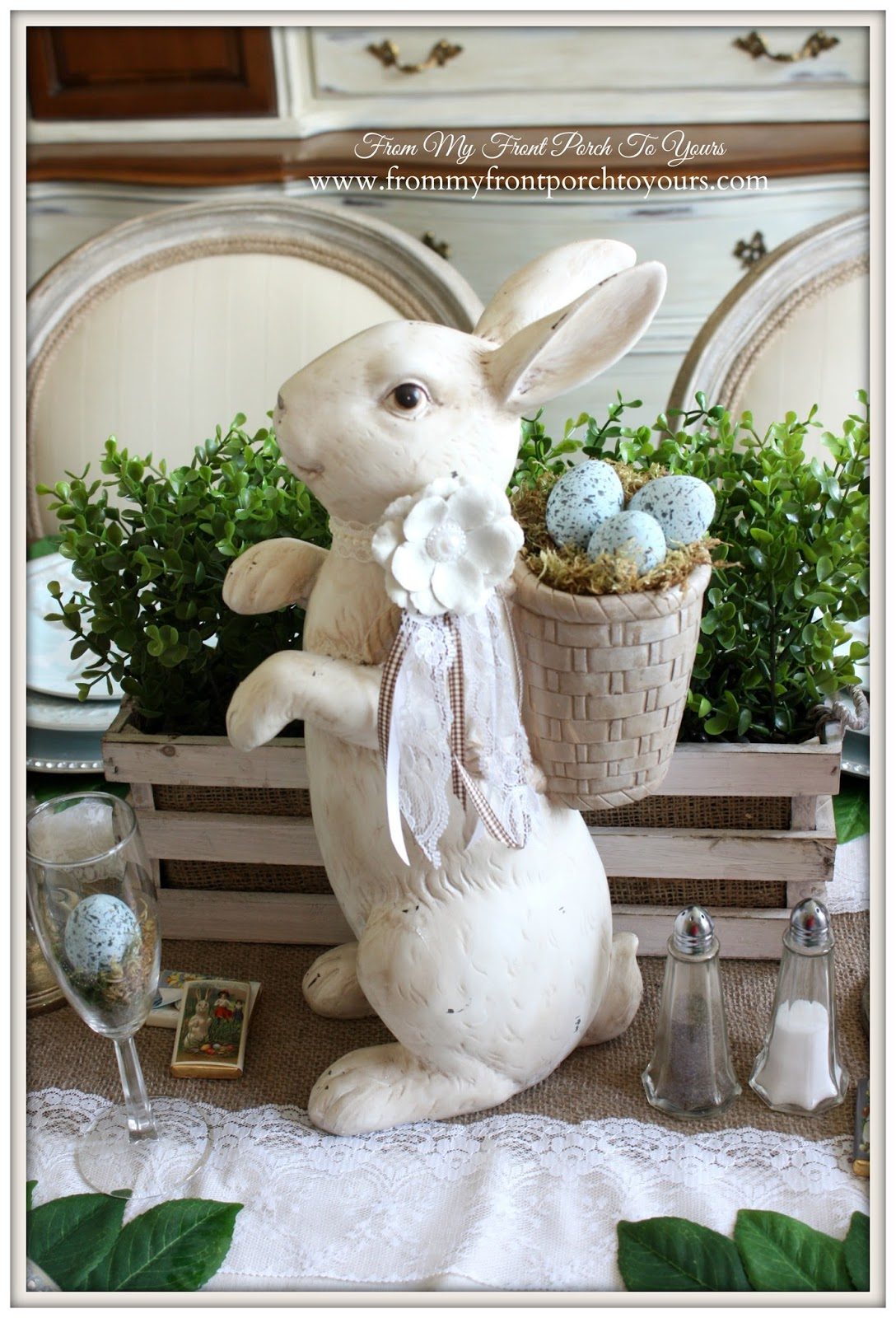 HomeGoods Bunny-French Farmhouse Easter Dining Room-Rabit Center Piece- From My Front Porch To Yours