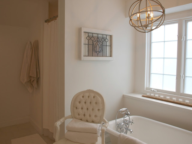 Master bathroom after renovation in Chicagoland fixer upper for Hello Lovely Studio