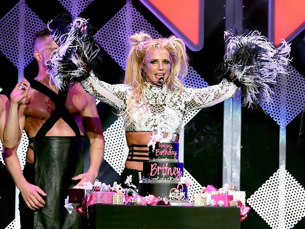 Britney Spears gets birthday cake during the show in the U.S.