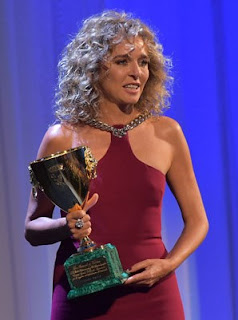 Valeria Golino receives her award at the 2015 Venice Film Festival