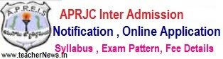 APRJC CET 2018 AP Residential Inter 1st year Admission Notification Apply Online Application form last date
