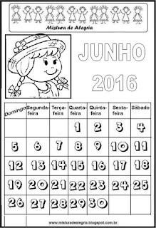Calendário de 2016 - junho