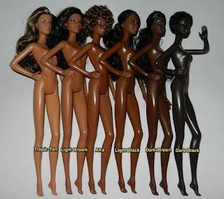 Tons de pele médio e escuro das bonecas