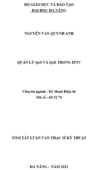 Quản lý QoS và QoE trong IPTV