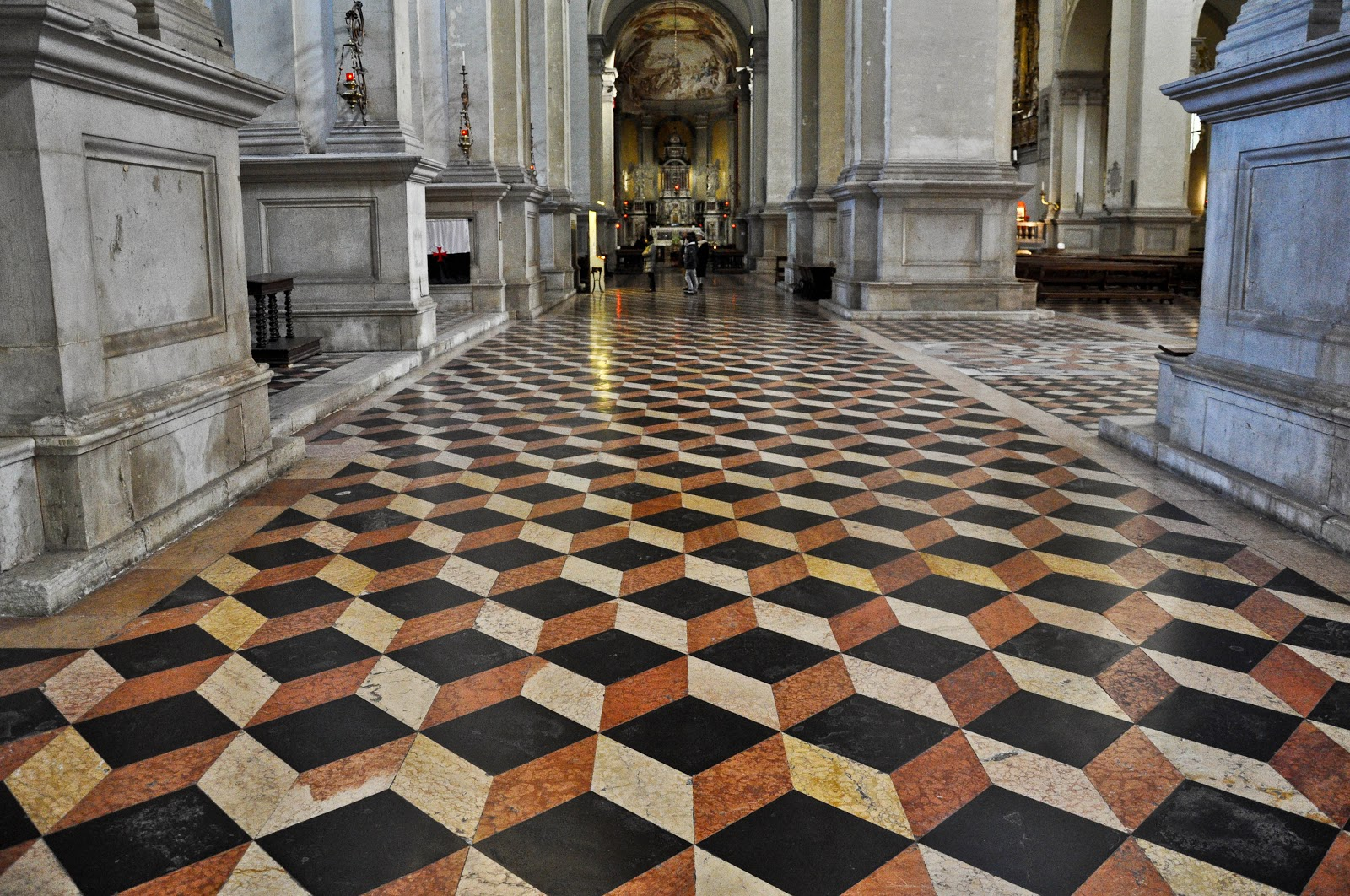 The geometric pattern on the floor of the Basilica of Santa Giustiniana in Padua, Italy