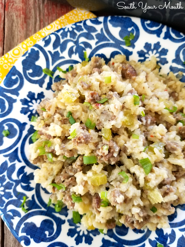 Hamburger & Rice Casserole | Ground beef and rice baked together in a classic casserole recipe that's easy to make your own. #casserole #easy #rice #hamburger #groundbeef