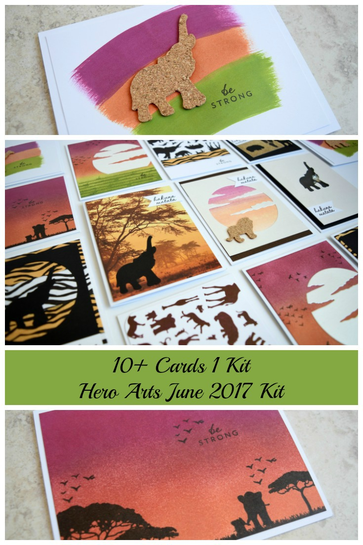 10+ Cards 1 Kit June My Monthly Hero 2017 Hero Arts Kit Cards and Tutorial by Jess Crafts