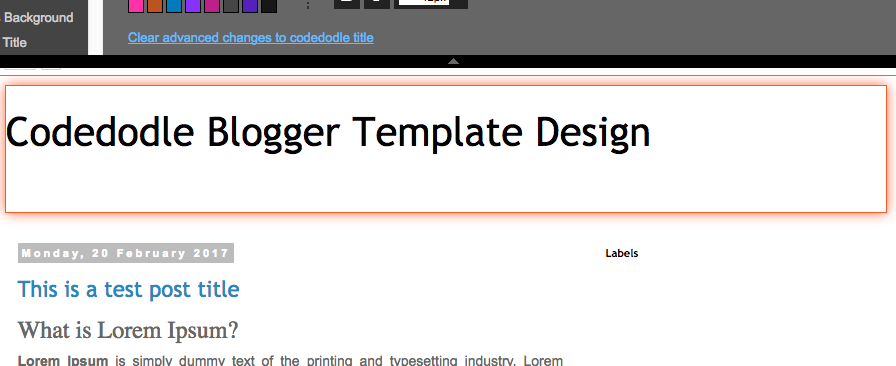 Highlighting a section in Template Designer