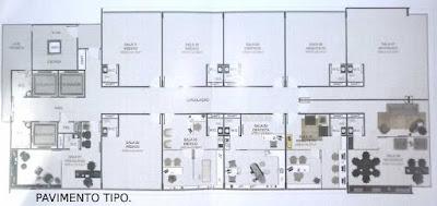 com dez salas por andar banheiro em todas as salas, hall para recepção e espera, 3 (três) elevadores e escadas.