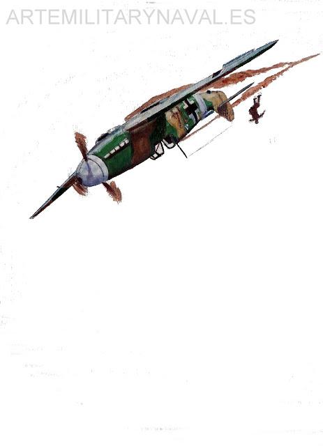 Pintura al oleo del accidente de Hans-Joachim Marseille pas 4