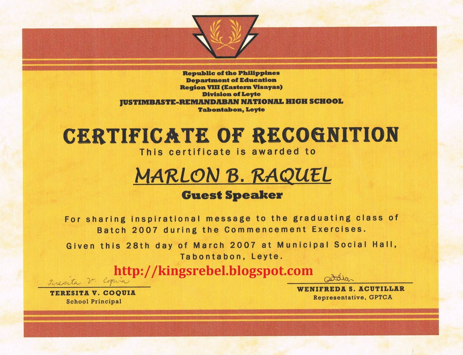 Tidbits And Bytes: Example Of Certificate Of Appreciation   Guest Speaker,  2007 Commencement Exercises Of Justimbaste Remandaban National High School  Certificate Of Recognition Samples