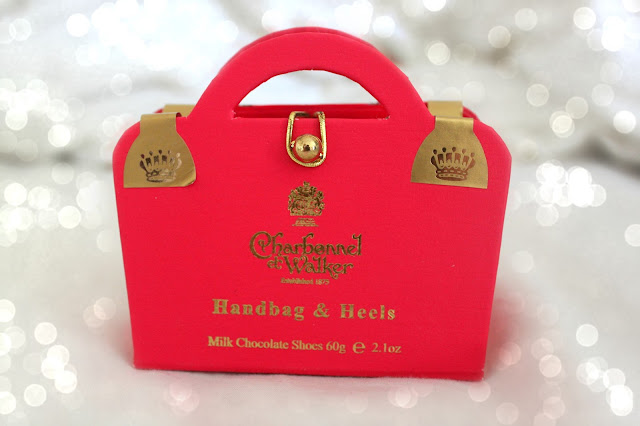 Charbonnel et Walker Chocolate Handbag & Heels in Pink and Gold Packaging from John Lewis