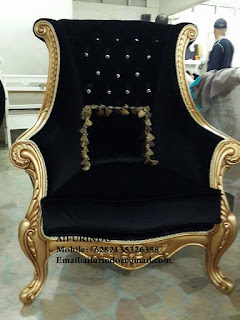 Indonesia Furniture Exporter,Classic chair gold leaf Furniture,French Provincial chair black velvet Furniture Indonesia code A104