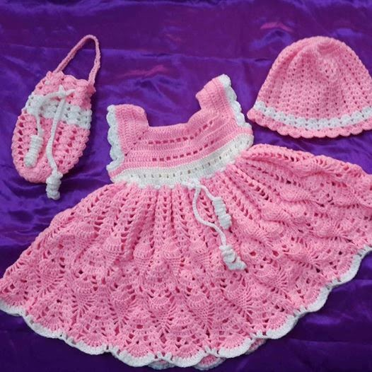873e87001f231 الرجاء للكروشيه والاشغال اليدوية   فستان لطفلة عمر سنتين بواسطة غرزة ...