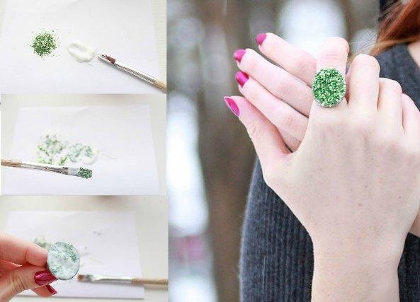2 anillos imitación Druzy cristales minúsculos