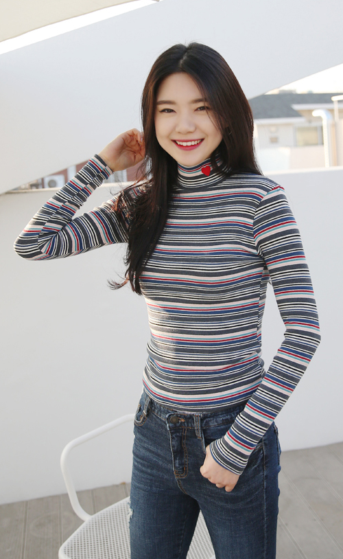 Heart Accent Turtleneck Stripe Top