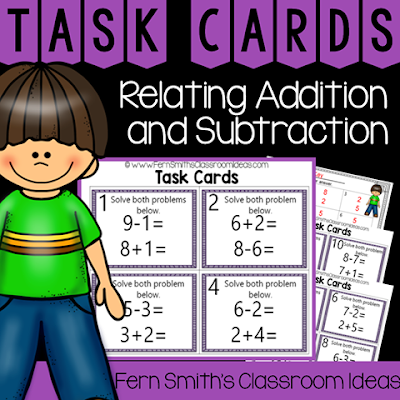 Second Grade Go Math 3.5 Relating Addition and Subtraction Task Cards