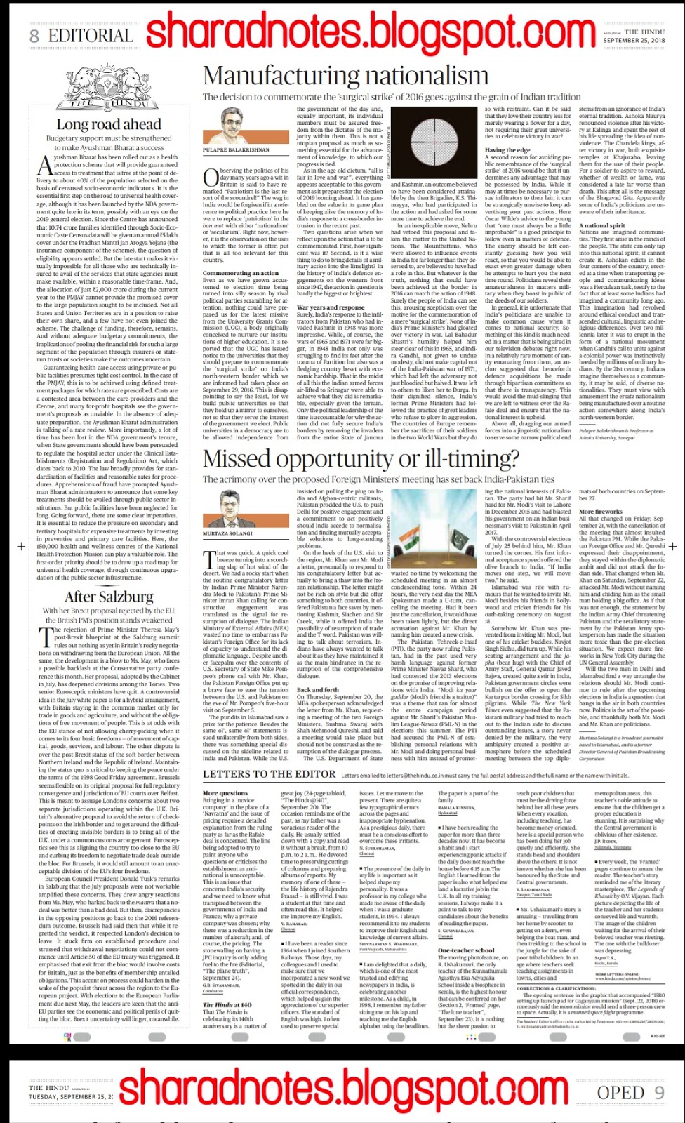 1st Of October The Hindu Editorial Page Notes Notification