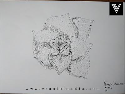 contoh gambar pointilis bunga