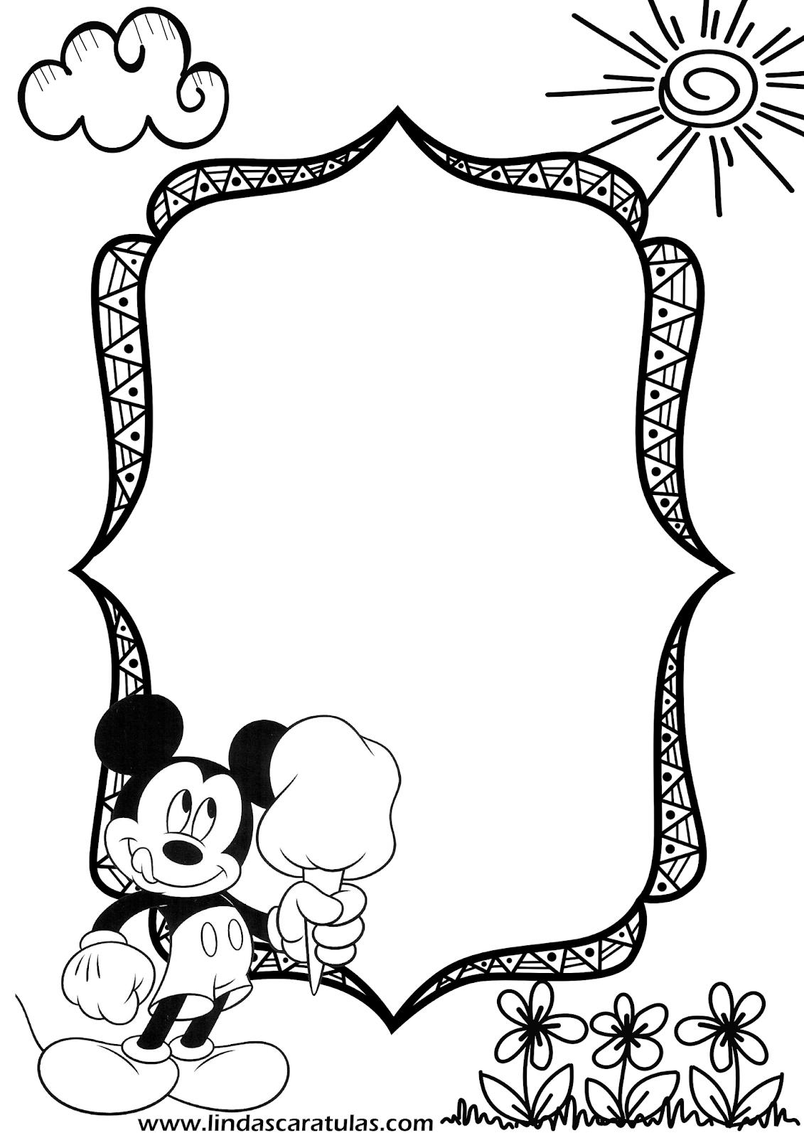 LINDAS CARATULAS: Caratulas Mickey Mouse para colorear