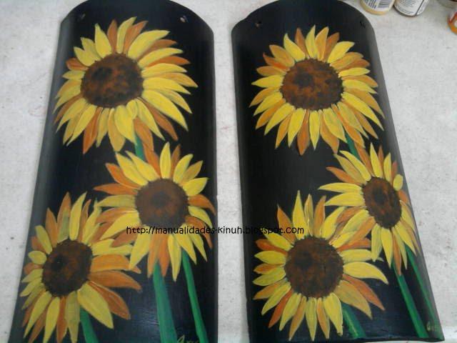 Manualides artcraft handcraft pintura tejas de barro decoradas a mano - Pintar tejas de barro ...