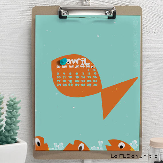 fond d'écran, calendrier 2017, poisson d'avril, FLE, le FLE en un 'clic'