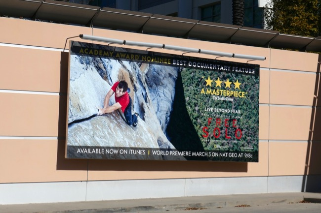 Free Solo Oscar nominee billboard