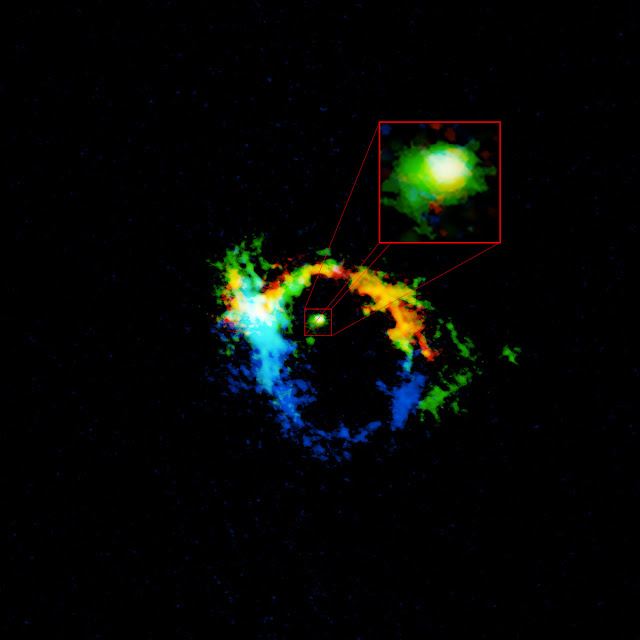 Black hole hidden within its own exhaust