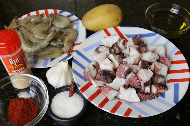 Ingredientes para pulpo al ajillo